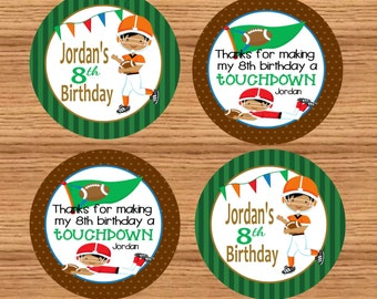 Printable Football Party Tags (Personalized) // Football Party Favors // Football Party Labels // Football Cupcake Toppers