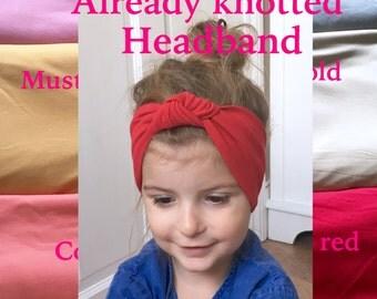 knot headband / baby summer colour head wraps / already knotted headband / toddler turban headband / jersey headband / baby turban