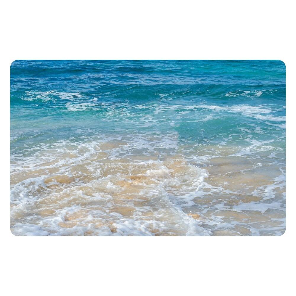 Ocean Bath Mat Surf Hawaiian Microfiber Foam Bath Mat Bathroom