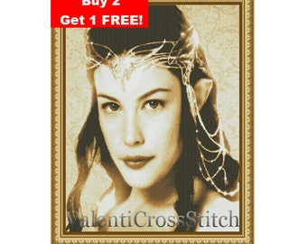 Arwen The Lord of the Rings Cross Stitch Pattern, Arwen Cross Stitch Pattern, lord of the rings. Liv Tyler cross stitch pattern.