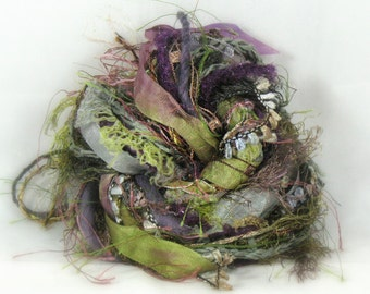 The Castle Weald Elements 26yds Faerie Fantasy Fiber Accents Mixed Media Painted Ribbon Specialty Art Yarn Bundle, Sage Moss Plum Gold Clay