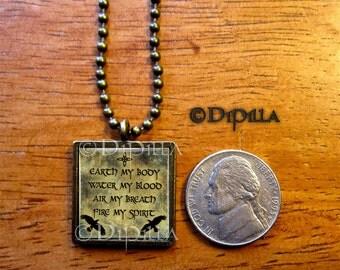 Elemental Chant Wicca Resin Poured Petite Waterproof Pendant in Bronze Earth my Body Fire my Blood