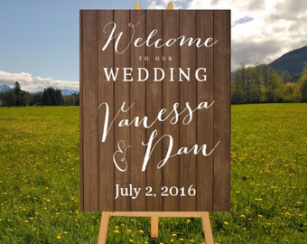 Rustic Wedding Sign, Rustic Wood Sign, White Calligraphy Welcome Sign, Wood Wedding Sign, DIGITAL Sign, Printable Wedding Sign