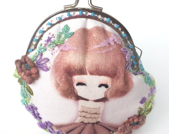 Embroidered romantic purse - vintage purse