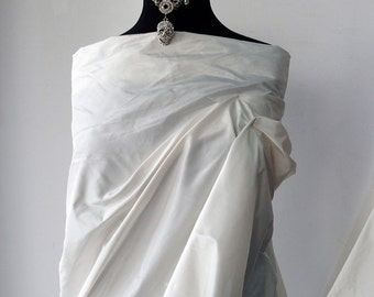 "Off White Ivory silk Taffeta fabric bridal wedding dress yardage By the Yard 53"" wide 100% silk"
