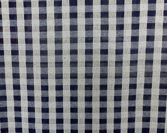 Navy blue on ivory ecru viscose check pattern gingham fabric