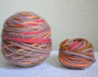 Chunky & multicolored wool yarns, 100g / 3,5 oz balls