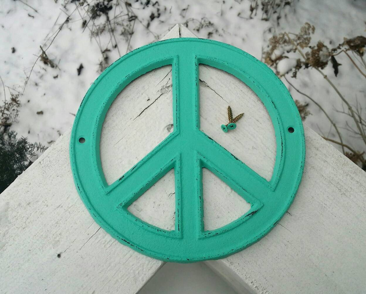 Peace Sign Wall Decor Turquoise That Is Cast Iron Hand