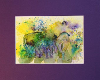 The Elephant Behinds, Original Watercolor Painting