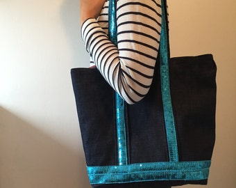 The tote bag in the way of Vanessa Bruno - Blue jean -  Turquoise sequins -  Lining cotton - Home made