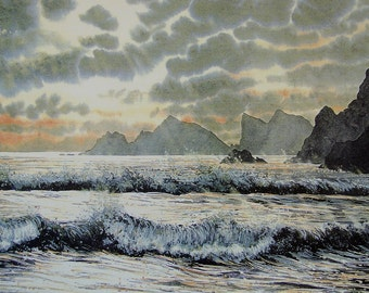 Newgale storm waves. A signed lithographic print. Newgale beach. Pembrokeshire coast seascapes, waves and sunset orignal watercolours, print