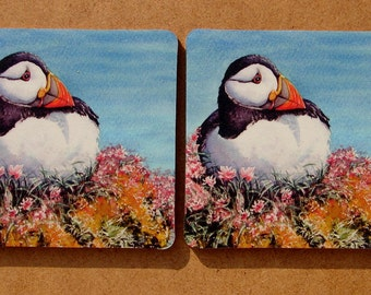 Puffin Coasters X 2 Pack! Sturdy, cork backed 4mm coasters 9.5cms x 9.5cms. Coasters, Cards and prints of Puffins, Seabirds, Wildlife.