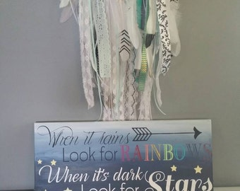 When it rains look for rainbows, when its dark look for stars. Ombre wood sign