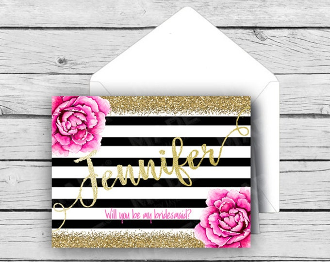 Printed BRIDAL PARTY Will You Be In My WEDDING Folded Note Cards - Pink Peony-Gold Glitter, Wedding Note Cards, Stationery