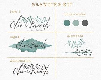 Olive Branch Branding Package , Branding Kit , Olive Branch Logo , Watercolour Olive Branch , Green and Grey , Green and Gray