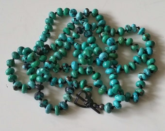 Genuine Kingman Turquoise NECKLACE Hand Knotted onto Silk with Heart Toggle Clasp