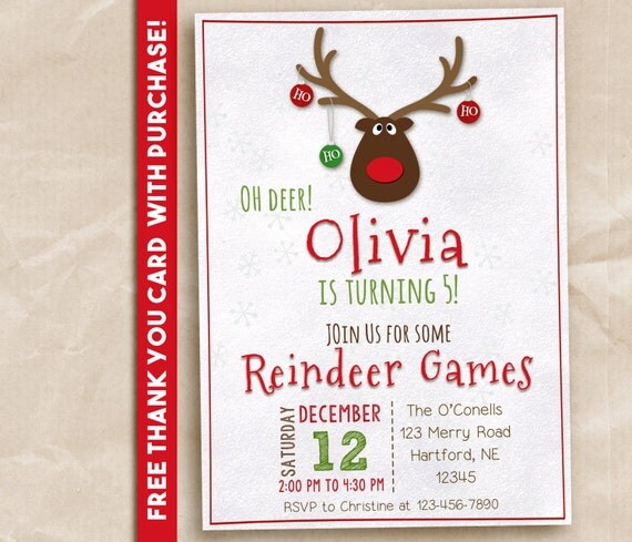 5x7 Reindeer Games Christmas Party Birthday Party Printable Invite. Digital. FREE THANK YOU Notes!