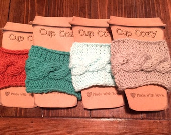 Cup cozies, thermos cozies, cable knit cup cozies,