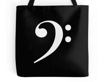 Bass Clef Music Bag, Bass Clef Music Tote, Gift for Musician, Musician Bag, Music Bag, Music Tote, Singer Gift, Bass Clef Print, Bass Clef