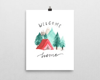 "Camping Watercolor Art Print | ""Welcome Home"""