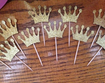 Cupcake topper. First birthday. Princess party. Pink and gold. Crown cupcake toppers