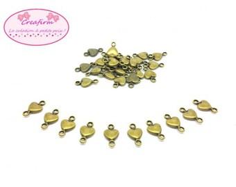 50 connectors hearts Bronze 15x8mm