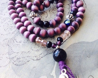 meditation, 108 mala beads, mala, meditation jewelry, purple, black, yoga, yoga jewelry, boho, necklace, prayer beads, small budha.925