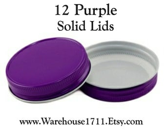 Mason Jar Lids ~ 12 ~ Solid Lids ~ (Purple) Party Jar Lids/Wedding Jar Lids/Anniversary Jar Lids