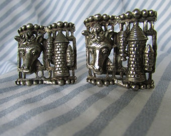 Unusual Antique Metal Cufflinks with Castle and Horse
