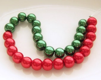 6MM Red Green Glass Pearls (30) Christmas Glass Pearl Beads
