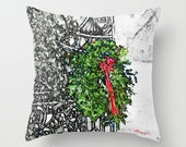 """CHRISTMAS in SEWICKLEY 16x16"""" Pillow Cover. Photo Art, TMCdesigns. Green Holiday Wreath, Red Bow, Black Iron Gate. Home Decor. Winter Snow."""