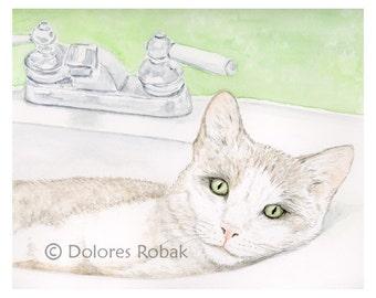Cat Lover Gift, Pet Lover Gift Cat Art Print, Retirement Gift for Woman, Gift for Cat Lover, Cat Gifts, Cat Watercolor Cat Art, Cat Painting