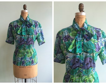 Vintage 1950's Abstract Print Blouse | Size Large