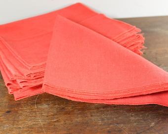 Vintage Orange Cloth Napkins Set of 12 -  Shower or Wedding Decor - Vintage Wedding Gift