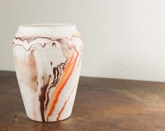 Nemadji Pottery Vase, Vintage Clay Vase, Southwestern Style- Ohio - Rustic Home Decor, Orange Brown