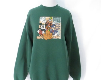 Vintage Disney Sweatshirt 90's Mickey Mouse Sweatshirt 1990's Disney Shirt Donald Duck Goofy Pluto Walt Disney Clothing