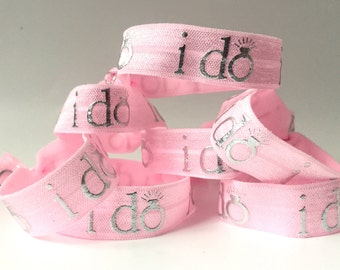 """Pink """"I do""""  Hair Tie"""