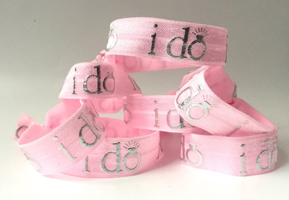 """Pink """"I do""""  Hair Tie-Set of 4"""