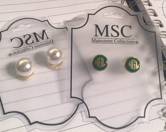 Monogrammed Earring with Pearl Back