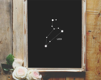 Leo, Digital Download, Printable, Astrology, Art Print, Print, Constellations, Home Decor, Wall Decor, Wall Art Print, Gift for Her, Decor
