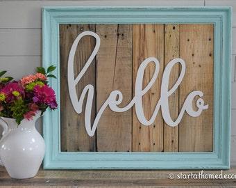 FINISHED Reclaimed Wood Aqua Hello Sign