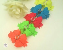 Neon Hair Bow Set, Summer Hair bow Set,neon pink bow, neon yellow bow,