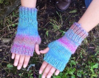Knit Fingerless Gloves in Mauve and Teal - Knit Handmade Fingerless Gloves Fingerless Mittens - Arm Warmers - Wrist Warmers - Made to Order