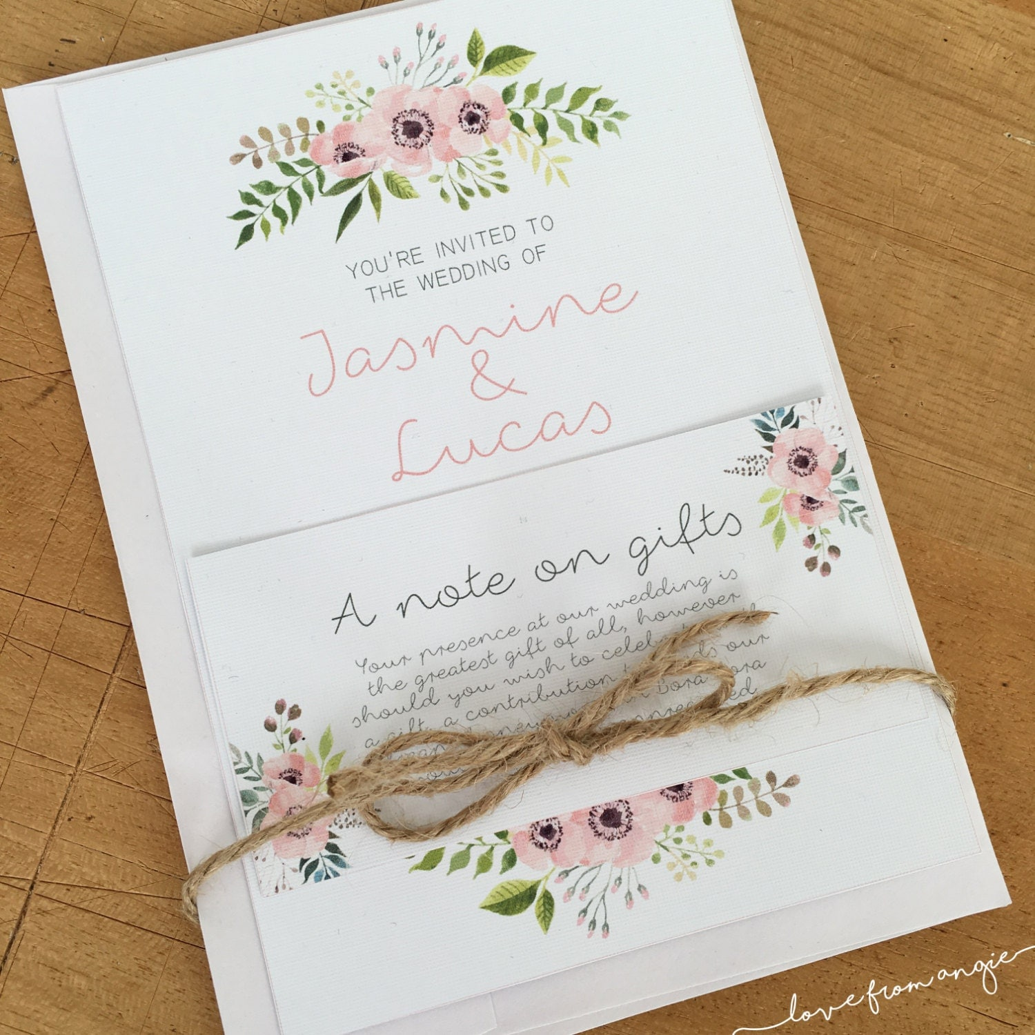 Wedding Invitation Gift Note Envelope // by lovefromAngie