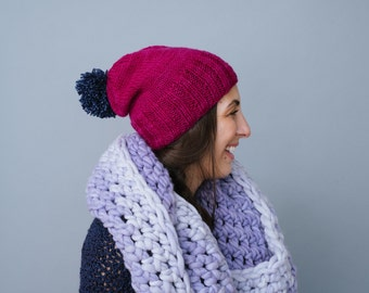 Winter Hat: Noelle collection knit pompom slouchy toque