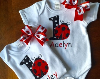 Girl's Birthday Bodysuit or Shirt Embroidered Appliqued Personalized with Name Number Ladybug 1st 2nd 3rd 4th birthday