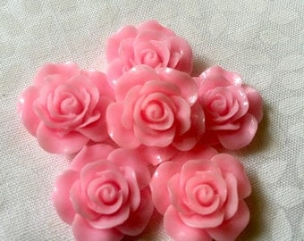 6 pc Pink Rose Cabochons!