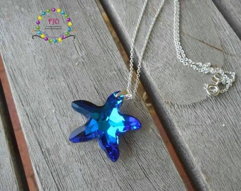 Sterling Silver Necklace Starfish Crystal Necklace Swarovski Crystal Necklace Sea Theme Necklace Bermuda Blue Swarovski necklace