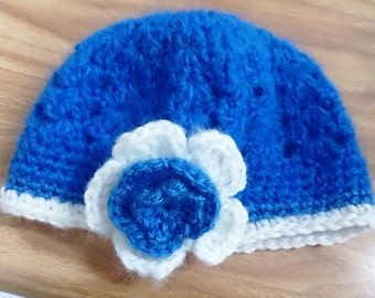 Blue and White Floral Beanie Hat Crocheted Mohair Hat 3-6 months with Free Shipping