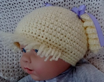 Yellow (Blonde) Raggedy Ann Hat for 3-6 months Baby
